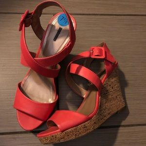 STYLE & CO ALLEXUS STRAPPY WEDGE SANDALS PINK 7.5